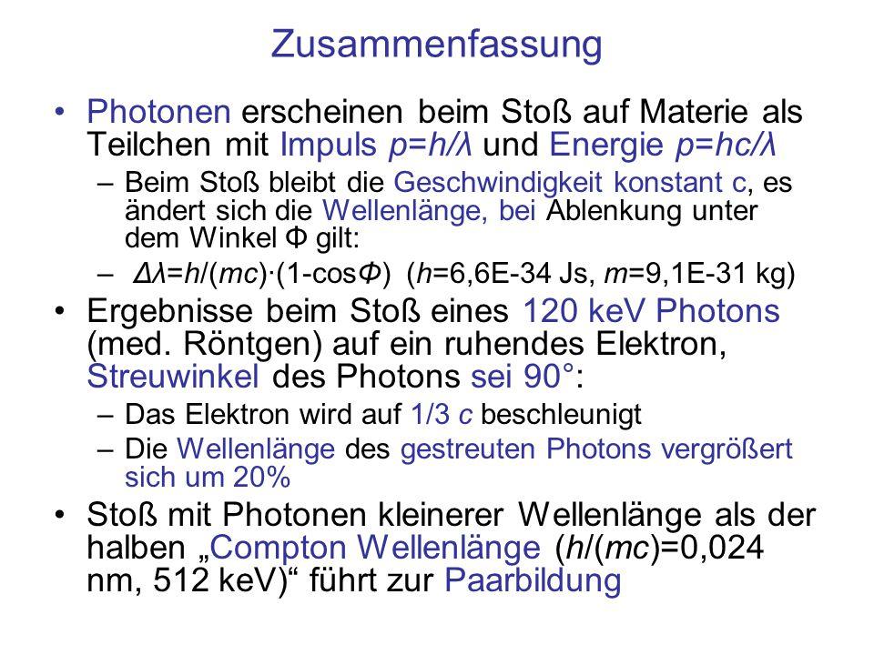 Zusammenfassung Photonen erscheinen beim Stoß auf Materie als Teilchen mit Impuls p=h/λ und Energie p=hc/λ –Beim Stoß bleibt die Geschwindigkeit konstant c, es ändert sich die Wellenlänge, bei Ablenkung unter dem Winkel Φ gilt: – Δλ=h/(mc)·(1-cosΦ) (h=6,6E-34 Js, m=9,1E-31 kg) Ergebnisse beim Stoß eines 120 keV Photons (med.