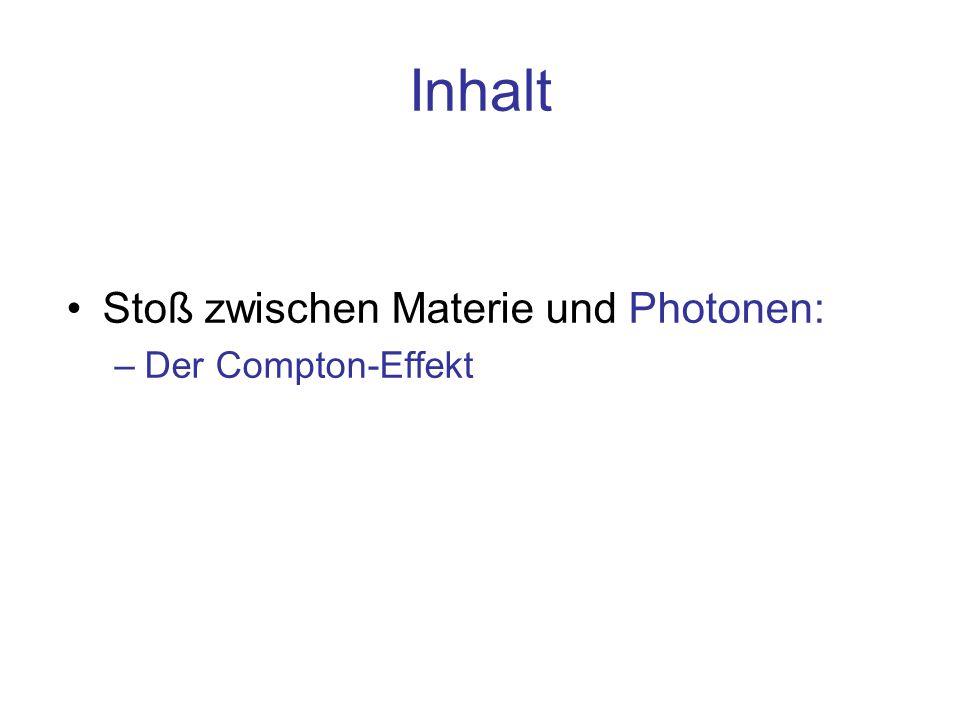 Inhalt Stoß zwischen Materie und Photonen: –Der Compton-Effekt