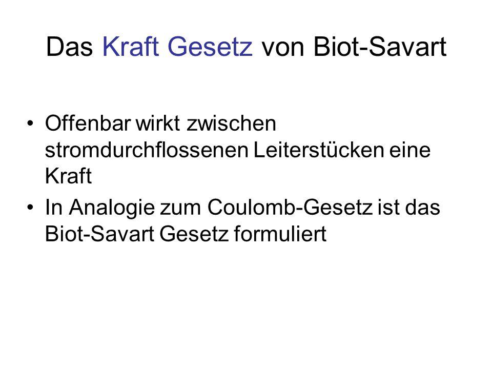 Das Kraft Gesetz von Biot-Savart Offenbar wirkt zwischen stromdurchflossenen Leiterstücken eine Kraft In Analogie zum Coulomb-Gesetz ist das Biot-Sava