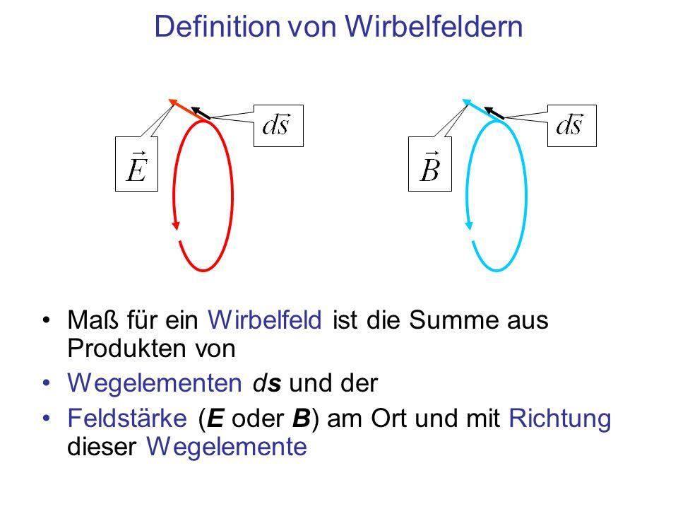 Definition von Wirbelfeldern Maß für ein Wirbelfeld ist die Summe aus Produkten von Wegelementen ds und der Feldstärke (E oder B) am Ort und mit Richtung dieser Wegelemente