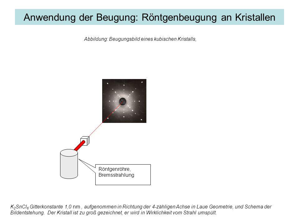 Anwendung der Beugung: Röntgenbeugung an Kristallen Für Röntgenlicht gibt es keine Linse: Das Objekt muss durch Fourier Transformation des Beugungsbilds erzeugt werden Röntgenröhre, Bremsstrahlung Abbildung: Beugungsbild eines kubischen Kristalls, K 2 SnCl 6 Gitterkonstante 1,0 nm, aufgenommen in Richtung der 4-zähligen Achse in Laue Geometrie, und Schema der Bildentstehung.