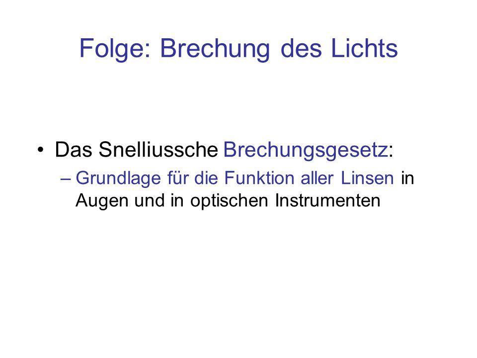 Das Snelliussche Brechungsgesetz: –Grundlage für die Funktion aller Linsen in Augen und in optischen Instrumenten Folge: Brechung des Lichts