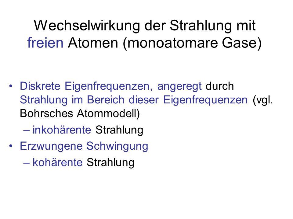 Wechselwirkung der Strahlung mit freien Atomen (monoatomare Gase) Diskrete Eigenfrequenzen, angeregt durch Strahlung im Bereich dieser Eigenfrequenzen (vgl.