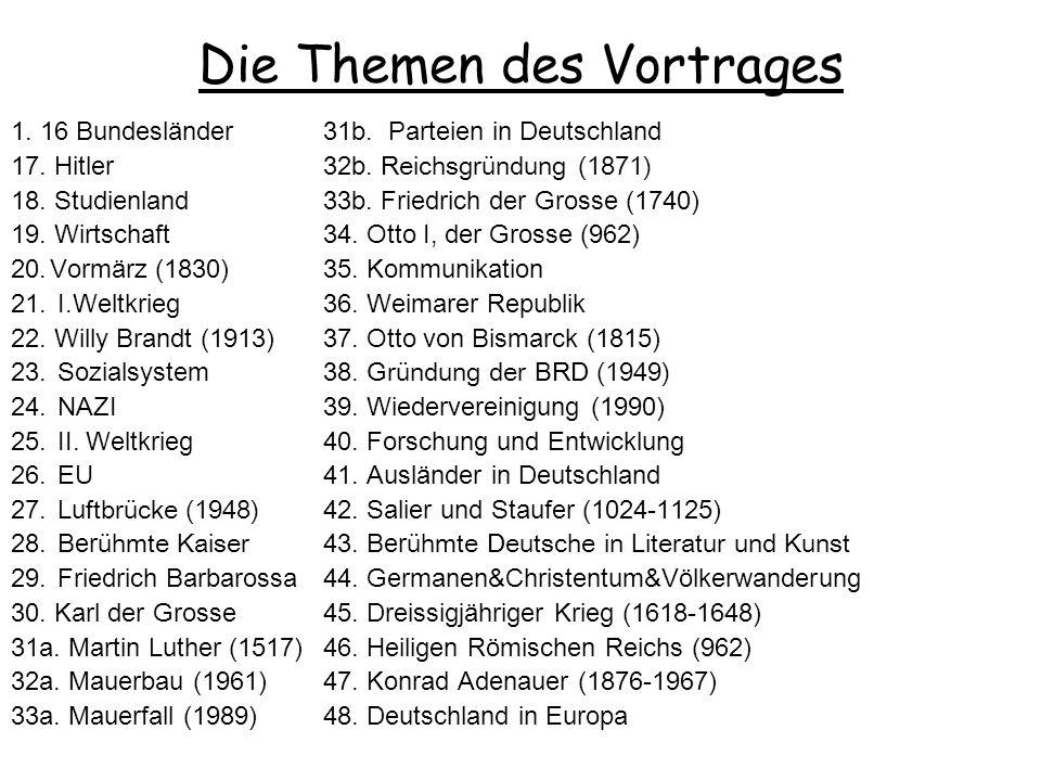 Einleitung der Vorlesung der deutschen Geschichte des Jahrgangs 06/07 Die Regeln der Vorlesung 1.Spät kommen bis 15 Minuten ist OK, mehr als 15 Min. m