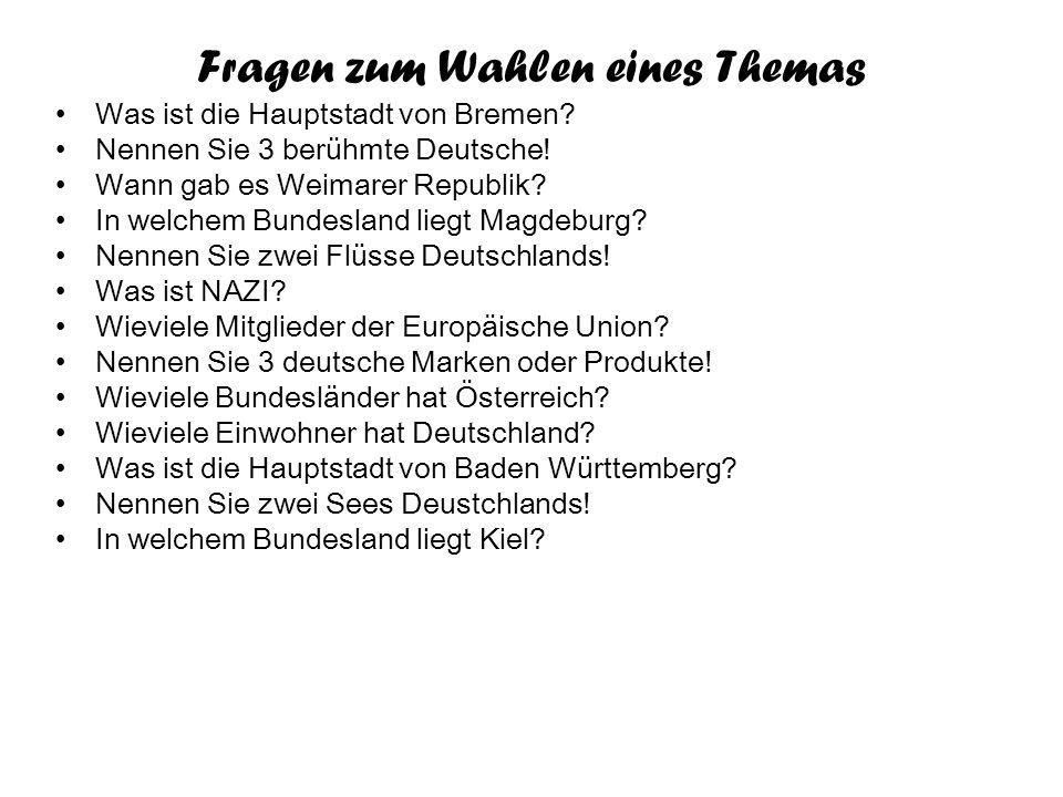 """Fragen zum Wahlen eines Themas Wer ist der erste Kanzler des Deutschlands? Woher kam Hitler? In welchem Bundesland liegt Düsseldorf? Wer schrieb """"Faus"""