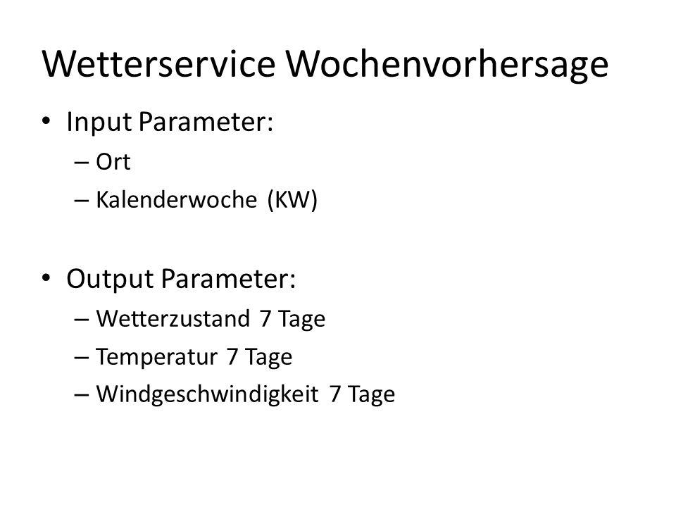 Wetterservice Wochenvorhersage Input Parameter: – Ort – Kalenderwoche (KW) Output Parameter: – Wetterzustand 7 Tage – Temperatur 7 Tage – Windgeschwindigkeit 7 Tage