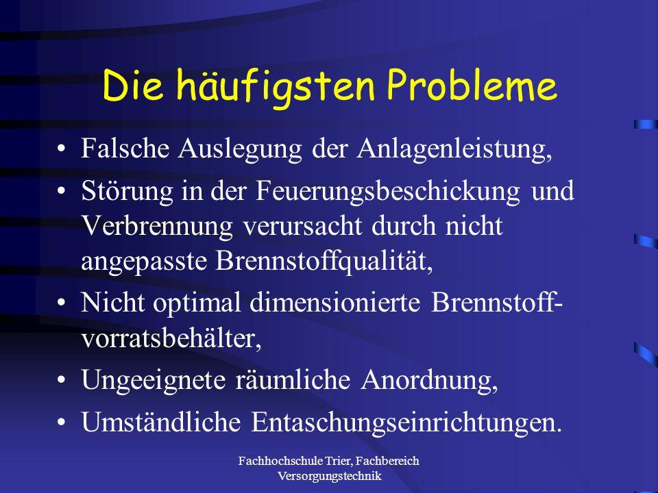 Fachhochschule Trier, Fachbereich Versorgungstechnik Spezifische Energiegestehungskosten