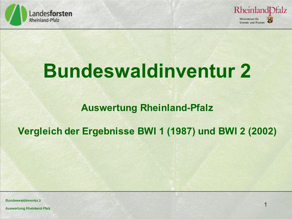 Bundeswaldinventur 2 Auswertung Rheinland-Pfalz Ministerium für Umwelt und Forsten 1 Bundeswaldinventur 2 Auswertung Rheinland-Pfalz Vergleich der Erg