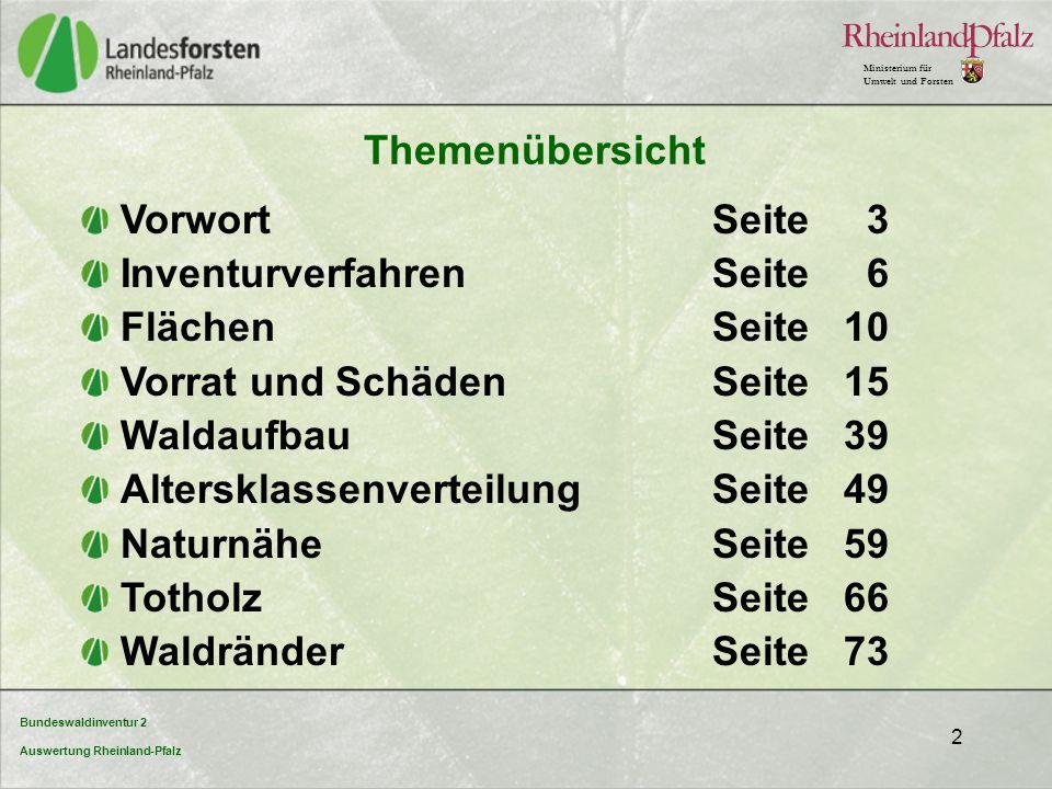 Bundeswaldinventur 2 Auswertung Rheinland-Pfalz Ministerium für Umwelt und Forsten 2 Themenübersicht VorwortSeite 3 InventurverfahrenSeite 6 FlächenSe