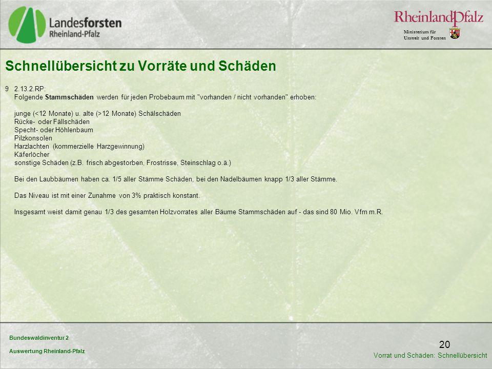Bundeswaldinventur 2 Auswertung Rheinland-Pfalz Ministerium für Umwelt und Forsten 20 9 2.13.2.RP: Folgende Stammschäden werden für jeden Probebaum mi