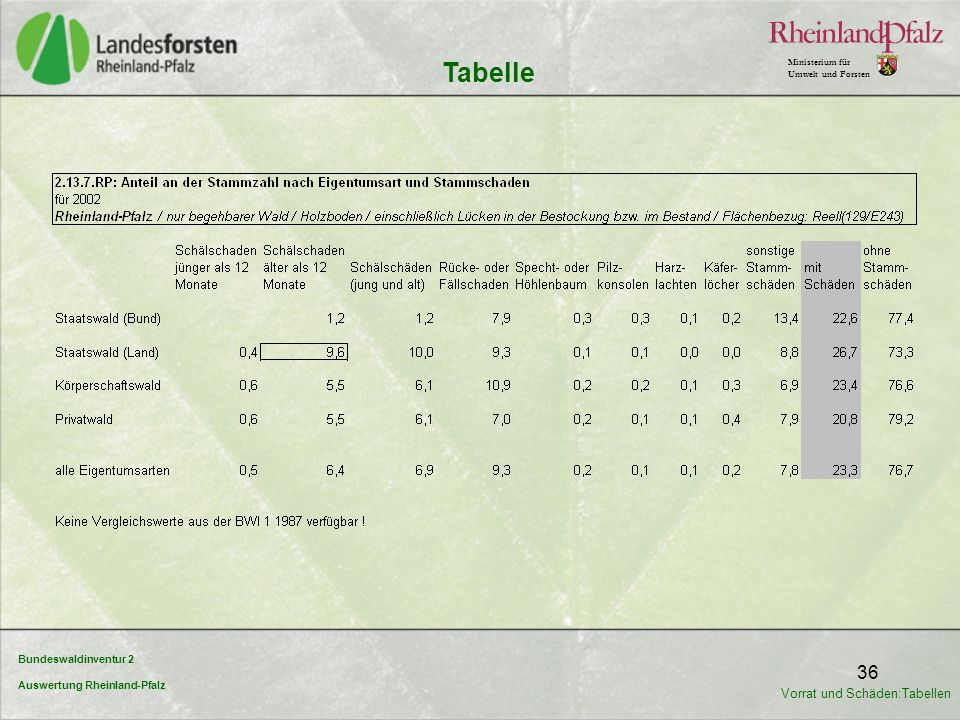 Bundeswaldinventur 2 Auswertung Rheinland-Pfalz Ministerium für Umwelt und Forsten 36 Tabelle Vorrat und Schäden:Tabellen