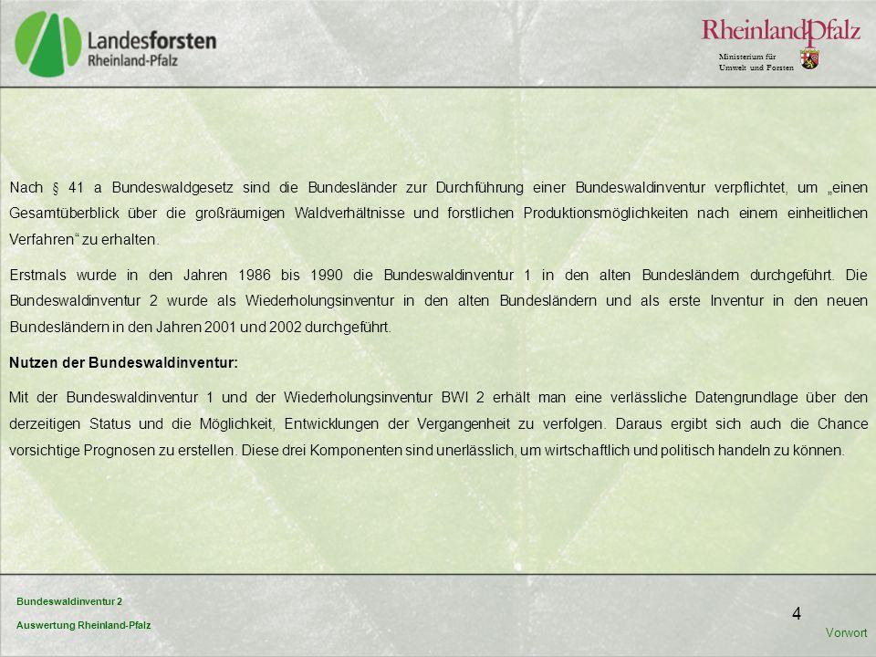 Bundeswaldinventur 2 Auswertung Rheinland-Pfalz Ministerium für Umwelt und Forsten 5 Wirtschaftlich: Die BWI bietet einen Überblick über Menge und Qualität des Rohholzaufkommens für die nächsten Jahrzehnte.