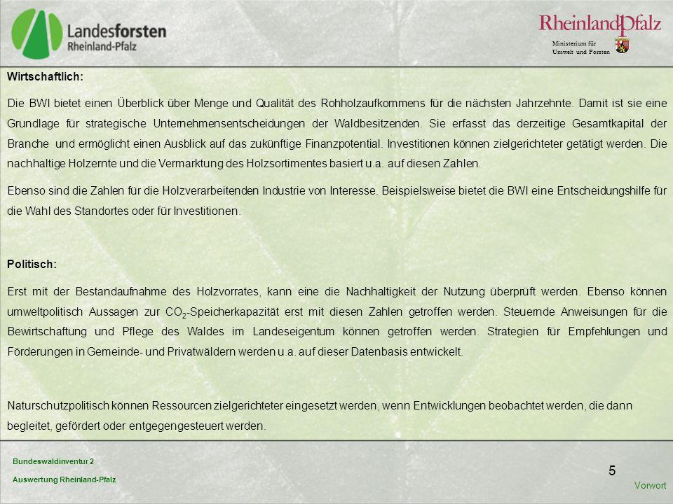 Bundeswaldinventur 2 Auswertung Rheinland-Pfalz Ministerium für Umwelt und Forsten 5 Wirtschaftlich: Die BWI bietet einen Überblick über Menge und Qua