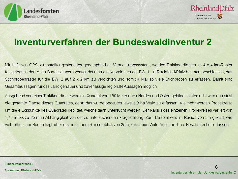 Bundeswaldinventur 2 Auswertung Rheinland-Pfalz Ministerium für Umwelt und Forsten 7 Inventurverfahren der Bundeswaldinventur 2 Zusammengefasst werden folgende Dateninhalte aufgenommen: Waldfläche und Waldbesitz Baumartenzusammensetzung Alterstruktur Vorräte und Vorratsstruktur ökologische Daten wie Waldränder, Totholz und Naturnähe ertragskundliche Kennwerte Stammschäden und Wildschäden Walderschließung Geländemerkmale In Rheinland-Pfalz wurden für die BWI (2) 2.810 Waldtrakte untersucht; es wurden 8.414 Waldecken aufgenommen.