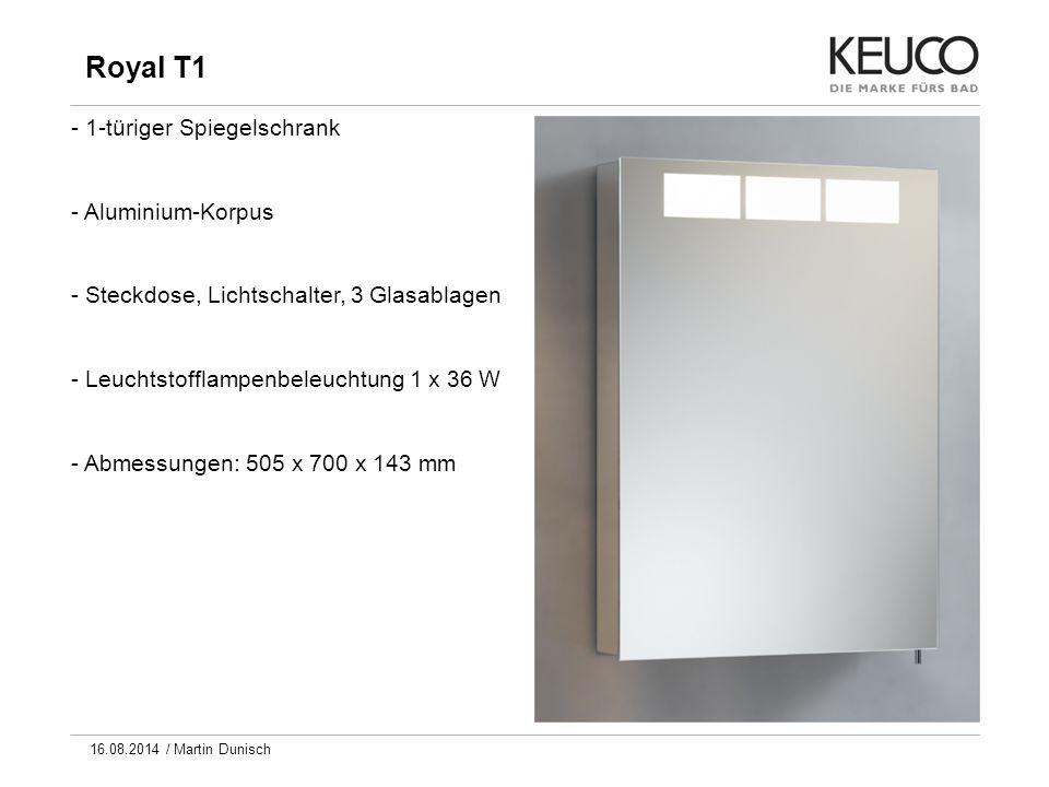 Royal T1 16.08.2014 / Martin Dunisch - 1-türiger Spiegelschrank - Aluminium-Korpus - Steckdose, Lichtschalter, 3 Glasablagen - Leuchtstofflampenbeleuchtung 1 x 36 W - Abmessungen: 505 x 700 x 143 mm 1