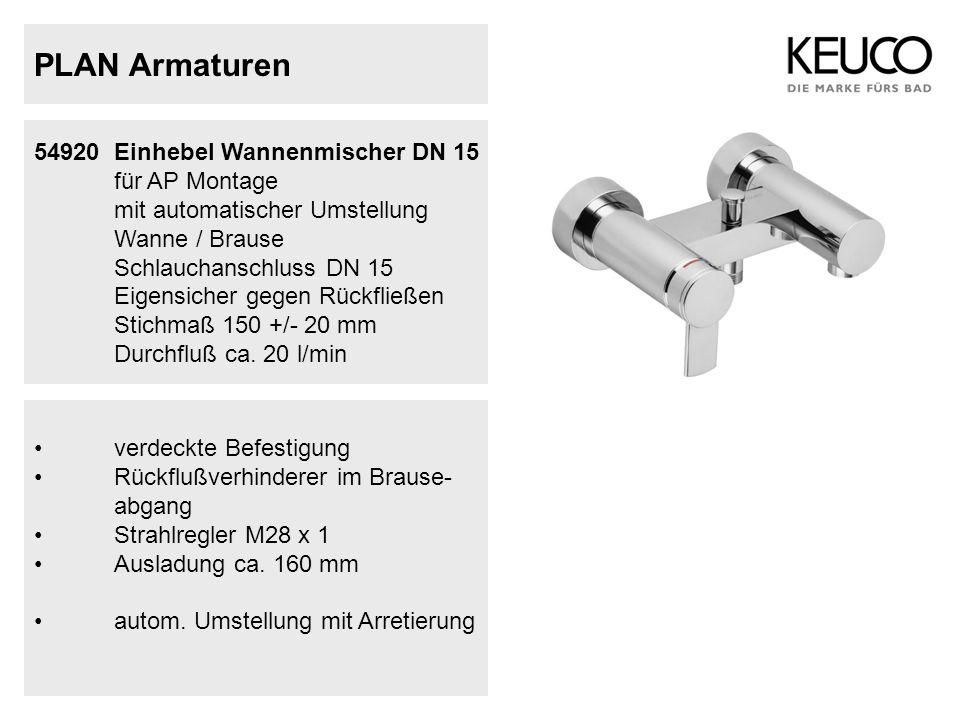 PLAN Armaturen 54920Einhebel Wannenmischer DN 15 für AP Montage mit automatischer Umstellung Wanne / Brause Schlauchanschluss DN 15 Eigensicher gegen