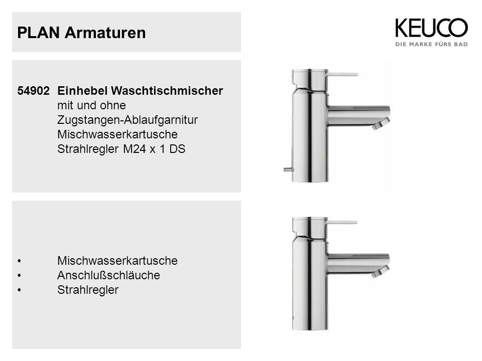 PLAN Armaturen 54902 Einhebel Waschtischmischer mit und ohne Zugstangen-Ablaufgarnitur Mischwasserkartusche Strahlregler M24 x 1 DS Mischwasserkartusc