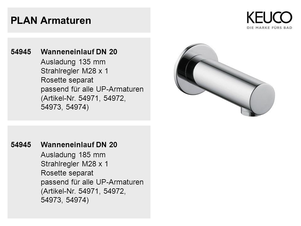 PLAN Armaturen 54945 Wanneneinlauf DN 20 Ausladung 135 mm Strahlregler M28 x 1 Rosette separat passend für alle UP-Armaturen (Artikel-Nr. 54971, 54972