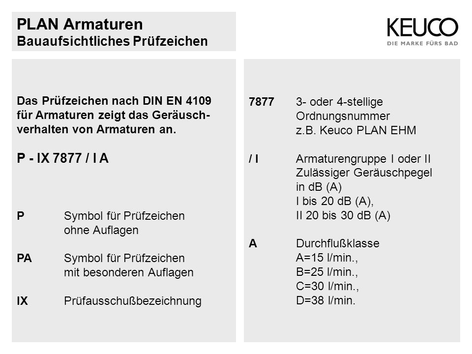 PLAN Armaturen Bauaufsichtliches Prüfzeichen Das Prüfzeichen nach DIN EN 4109 für Armaturen zeigt das Geräusch- verhalten von Armaturen an. P - IX 787