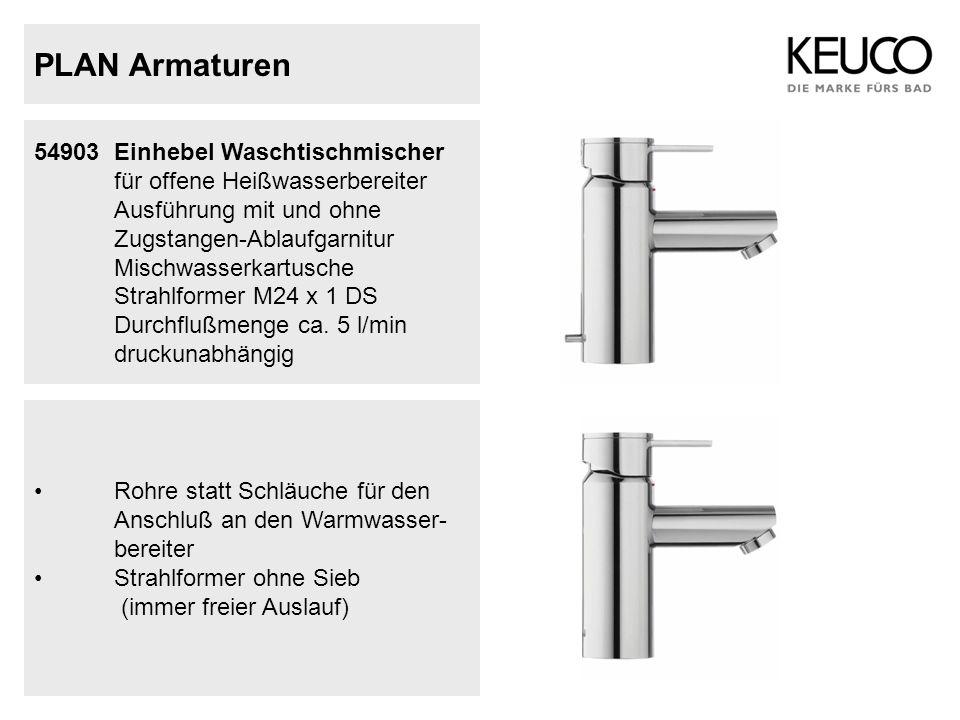 PLAN Armaturen 54903 Einhebel Waschtischmischer für offene Heißwasserbereiter Ausführung mit und ohne Zugstangen-Ablaufgarnitur Mischwasserkartusche S