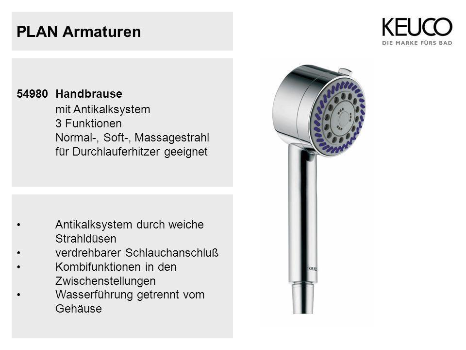 PLAN Armaturen 54980 Handbrause mit Antikalksystem 3 Funktionen Normal-, Soft-, Massagestrahl für Durchlauferhitzer geeignet Antikalksystem durch weic