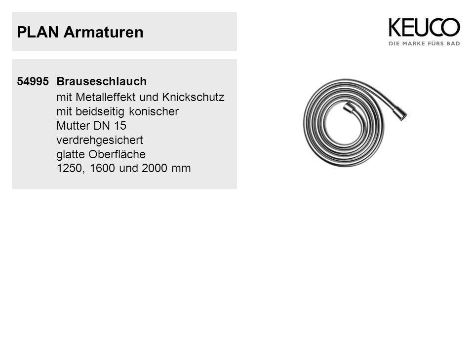 PLAN Armaturen 54995 Brauseschlauch mit Metalleffekt und Knickschutz mit beidseitig konischer Mutter DN 15 verdrehgesichert glatte Oberfläche 1250, 16