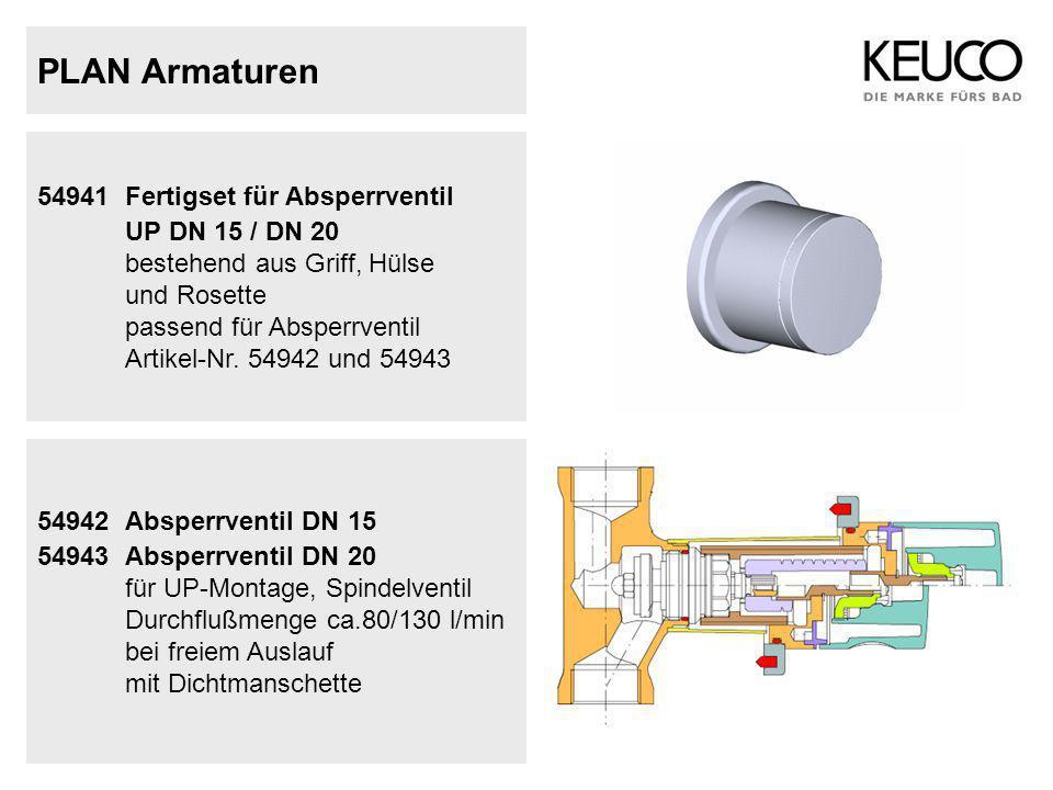 PLAN Armaturen 54941 Fertigset für Absperrventil UP DN 15 / DN 20 bestehend aus Griff, Hülse und Rosette passend für Absperrventil Artikel-Nr. 54942 u