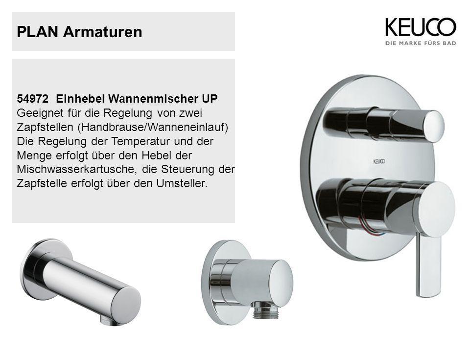 PLAN Armaturen 54972Einhebel Wannenmischer UP Geeignet für die Regelung von zwei Zapfstellen (Handbrause/Wanneneinlauf) Die Regelung der Temperatur un