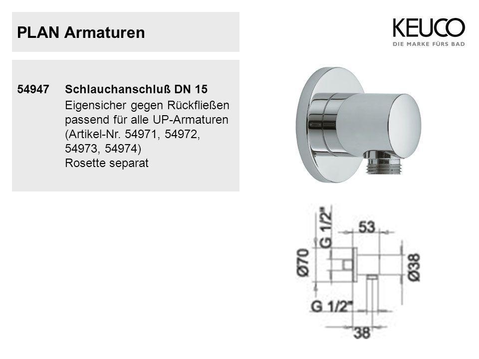PLAN Armaturen 54947 Schlauchanschluß DN 15 Eigensicher gegen Rückfließen passend für alle UP-Armaturen (Artikel-Nr. 54971, 54972, 54973, 54974) Roset