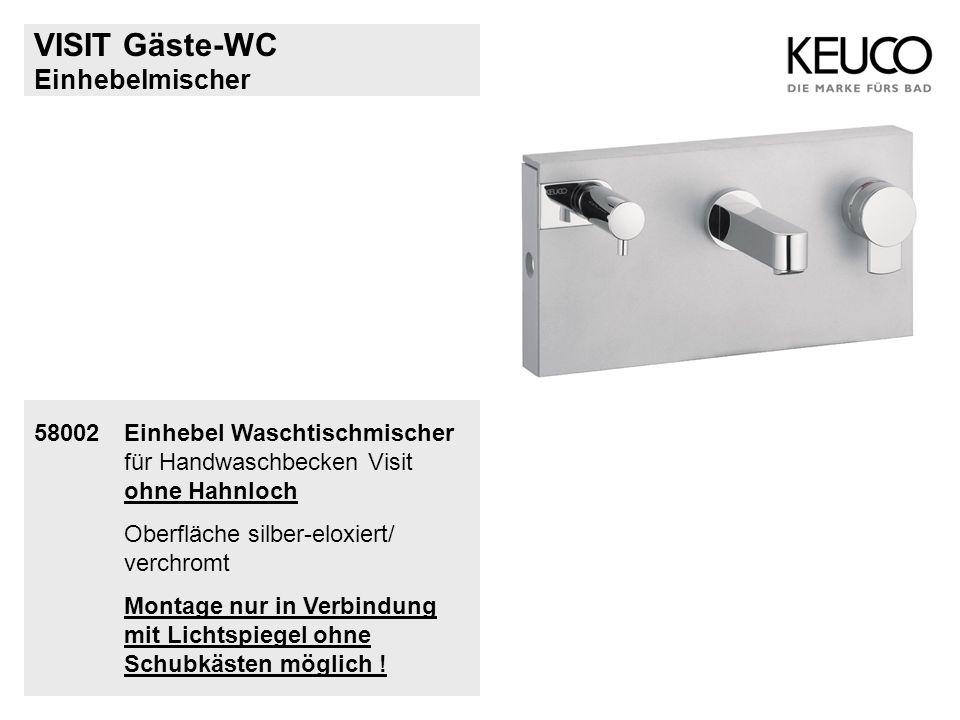 Einhebelmischer 58002Einhebel Waschtischmischer für Handwaschbecken Visit ohne Hahnloch Oberfläche silber-eloxiert/ verchromt Montage nur in Verbindun