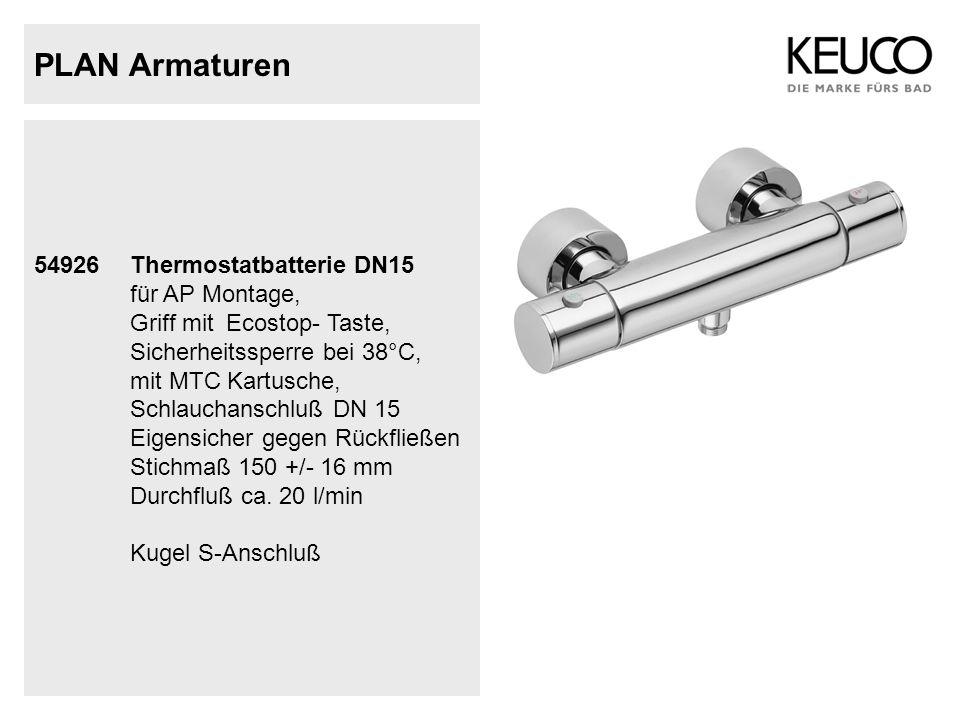 PLAN Armaturen 54926Thermostatbatterie DN15 für AP Montage, Griff mitEcostop- Taste, Sicherheitssperre bei 38°C, mit MTC Kartusche, Schlauchanschluß D