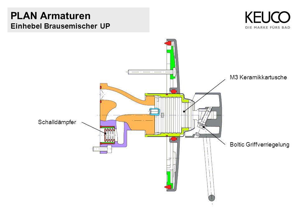 PLAN Armaturen Einhebel Brausemischer UP Schalldämpfer Boltic Griffverriegelung M3 Keramikkartusche