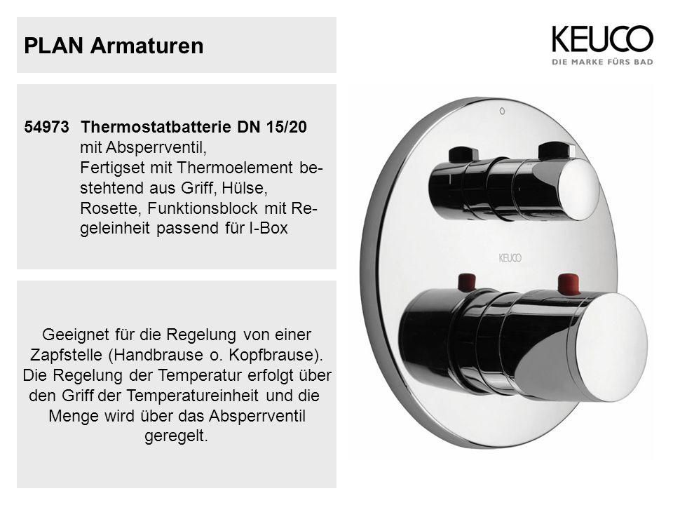 PLAN Armaturen 54973Thermostatbatterie DN 15/20 mit Absperrventil, Fertigset mit Thermoelement be- stehtend aus Griff, Hülse, Rosette, Funktionsblock