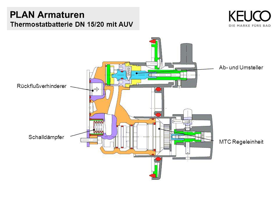 PLAN Armaturen Thermostatbatterie DN 15/20 mit AUV Rückflußverhinderer Schalldämpfer MTC Regeleinheit Ab- und Umsteller