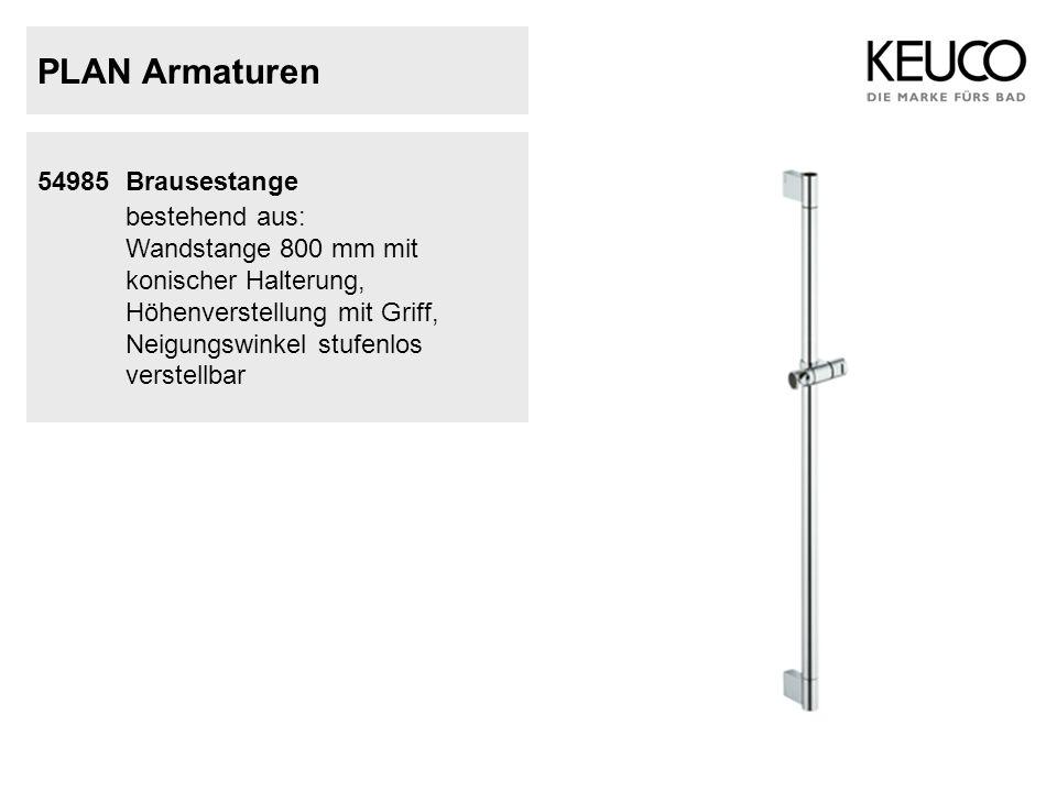 PLAN Armaturen 54985 Brausestange bestehend aus: Wandstange 800 mm mit konischer Halterung, Höhenverstellung mit Griff, Neigungswinkel stufenlos verst