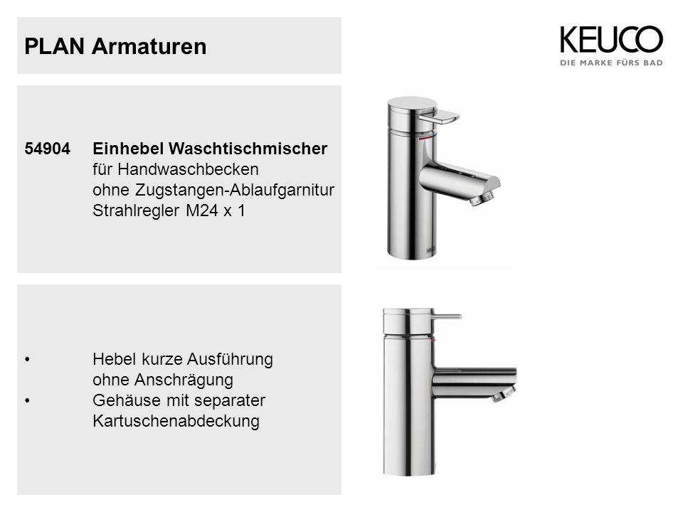 PLAN Armaturen 54904Einhebel Waschtischmischer für Handwaschbecken ohne Zugstangen-Ablaufgarnitur Strahlregler M24 x 1 Hebel kurze Ausführung ohne Ans