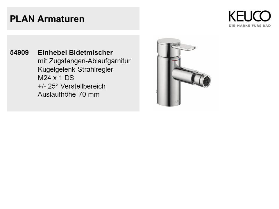 PLAN Armaturen 54909Einhebel Bidetmischer mit Zugstangen-Ablaufgarnitur Kugelgelenk-Strahlregler M24 x 1 DS +/- 25° Verstellbereich Auslaufhöhe 70 mm