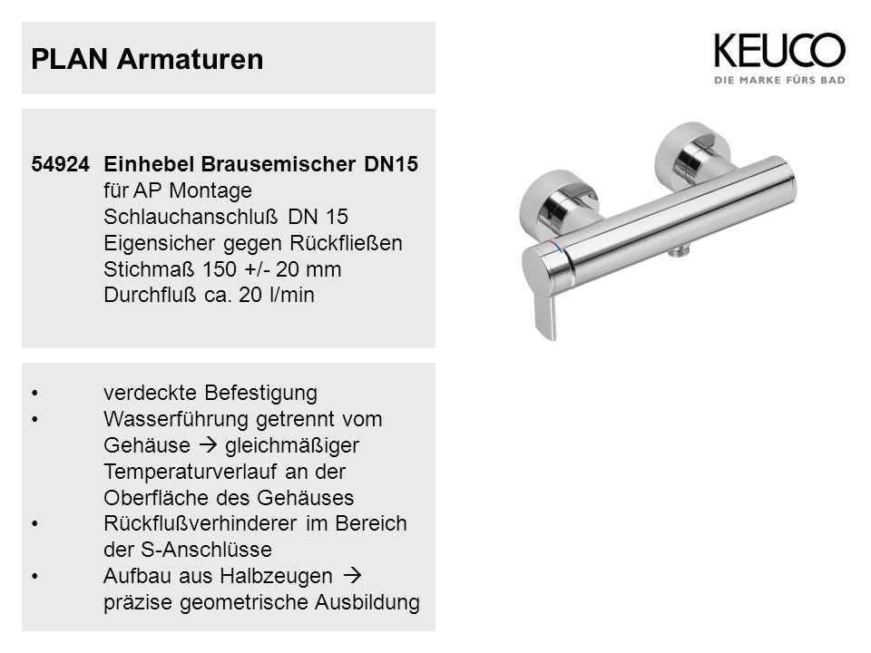 PLAN Armaturen 54924Einhebel Brausemischer DN15 für AP Montage Schlauchanschluß DN 15 Eigensicher gegen Rückfließen Stichmaß 150 +/- 20 mm Durchfluß c