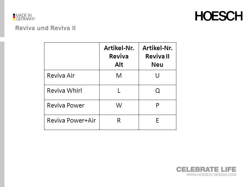 Vergleich Reviva und Reviva II RevivaReviva II Air (M) Whirl (L) Power (W) Power- Air (R) Air (U) Whirl (Q) Power (P) Power- Air (E) Grundausstatung Whirldüsen, (modellabhängig)-6-12 -4-8* Air-Düsen, (modellabhängig)12-23-- -- Rücken- und Fußdüsen-----X** 2x LED-RGB m.