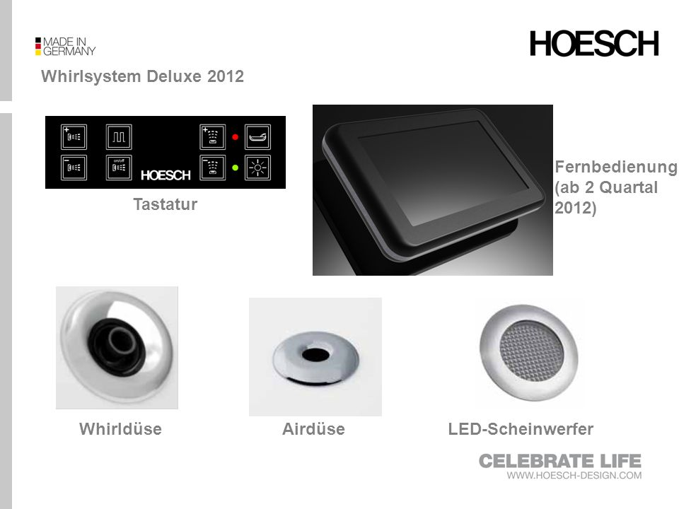 Whirlsystem Deluxe 2012 Tastatur LED-ScheinwerferAirdüseWhirldüse Fernbedienung (ab 2 Quartal 2012)