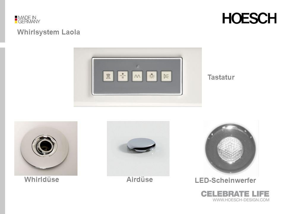 Whirlsystem Laola II Tastatur LED-ScheinwerferAirdüseWhirldüseRücken- und Fußdüsen