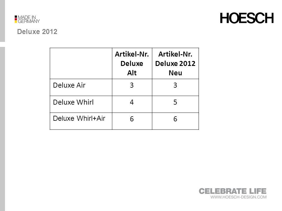 Vergleich Deluxe und Deluxe 2012 DeluxeDeluxe 2012 Air (3) Whirl (5) Air+Whirl (6) Air (3) Whirl (5) Air+Whirl (6) Grundausstatung Whirldüsen, (modellabhängig) -6-8* - Air-Düsen, (modellabhängig) 12-26- - Rücken- und Fußdüsen O-OO-O 2x LED-RGB m.