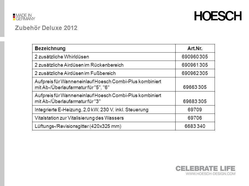 Zubehör Deluxe 2012 BezeichnungArt.Nr. 2 zusätzliche Whirldüsen690960 305 2 zusätzliche Airdüsen im Rückenbereich690961 305 2 zusätzliche Airdüsen im