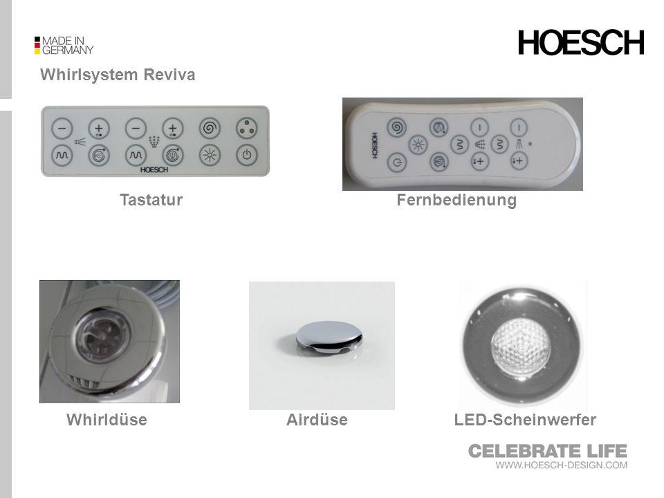 Whirlsystem Reviva II Tastatur LED-ScheinwerferAirdüseWhirldüse Fernbedienung Rücken- und Fußdüsen