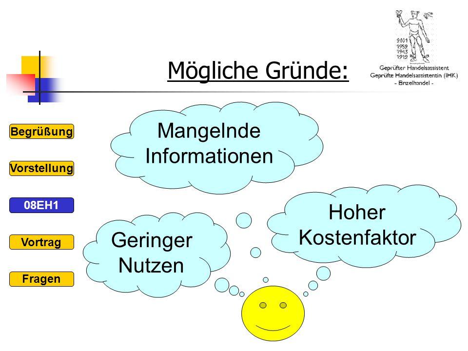 Mögliche Gründe: Begrüßung 08EH1 Vorstellung Vortrag Fragen Geringer Nutzen Mangelnde Informationen Hoher Kostenfaktor