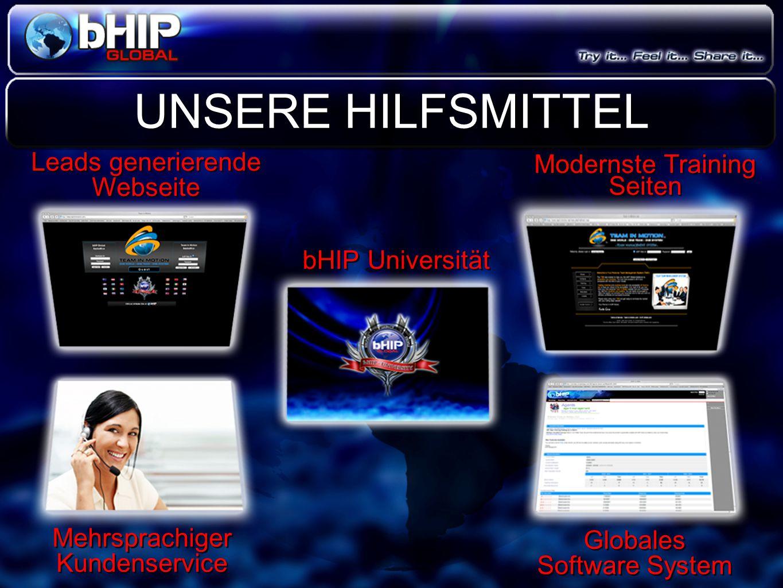 UNSERE HILFSMITTEL bHIP Universität Mehrsprachiger Kundenservice Modernste Training Seiten Leads generierende Webseite Globales Software System Global