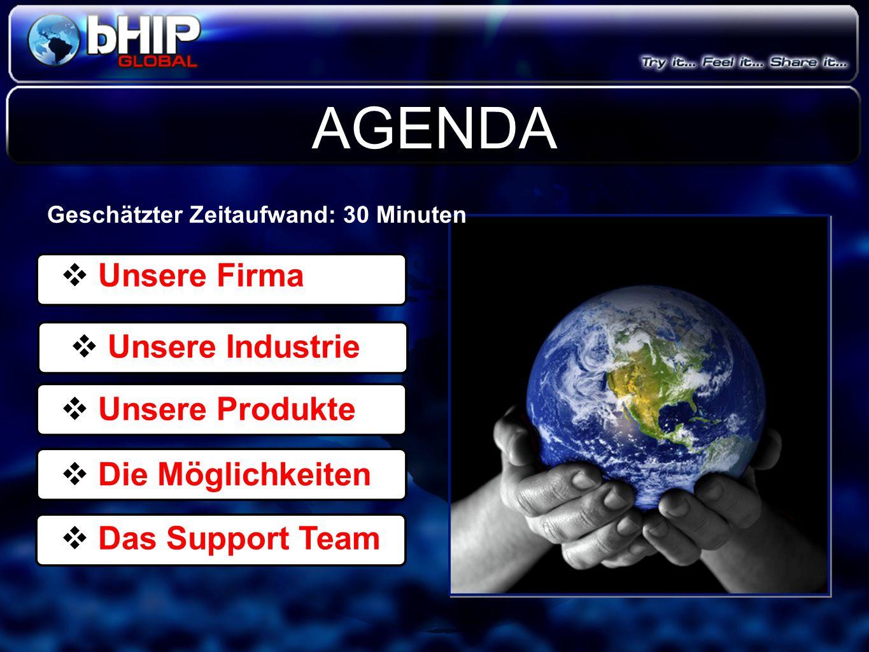  Unsere Firma  Unsere Industrie  Unsere Produkte  Die Möglichkeiten  Das Support Team AGENDA Geschätzter Zeitaufwand: 30 Minuten