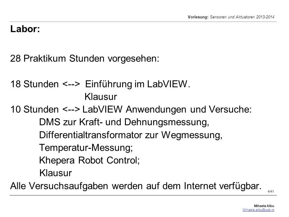 Mihaela Albu Mihaela.albu@upb.ro Vorlesung: Sensoren und Aktuatoren 2013-2014 5/41 Literaturverzeichnis [1] Rolf Isermann, Mechatronische Systeme: Grundlagen (Taschenbuch, 2007) [2] Niebuhr, Lindner, Physikalische Messtechnik mit Sensoren, Oldenbourg, 2002 [3] Armin Schöne, Meßtechnik, Springer Verlag, 1997 [4]Hans Jürgen Gevatter, Hrsg., Automatisierungstechnik 1, Meß- und Sensortechnik, Springer, 2000.