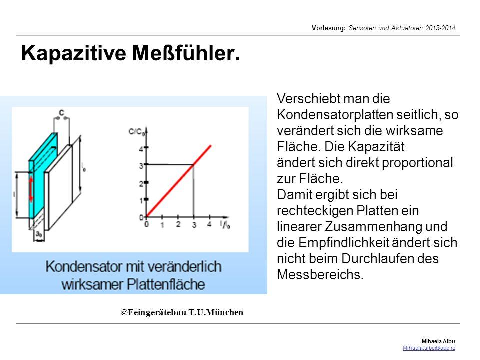 Mihaela Albu Mihaela.albu@upb.ro Vorlesung: Sensoren und Aktuatoren 2013-2014 Kapazitive Meßfühler. ©Feingerätebau T.U.München Verschiebt man die Kond
