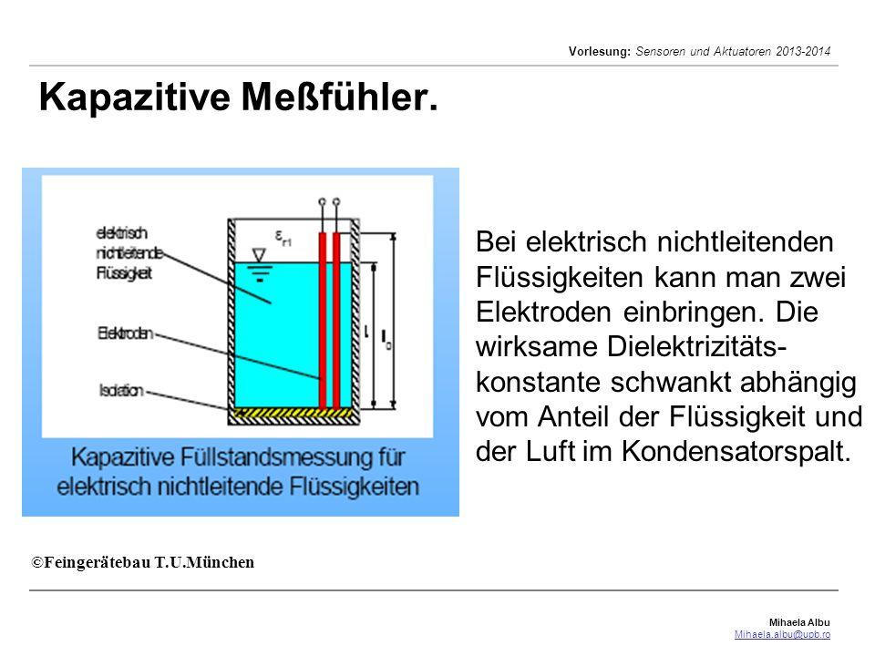 Mihaela Albu Mihaela.albu@upb.ro Vorlesung: Sensoren und Aktuatoren 2013-2014 Kapazitive Meßfühler. ©Feingerätebau T.U.München Bei elektrisch nichtlei